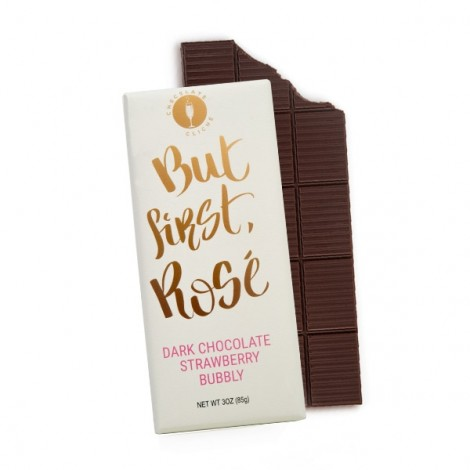 But First Rose Dark Chocolate Strawberry Bubbly Flavored 3oz. Bar