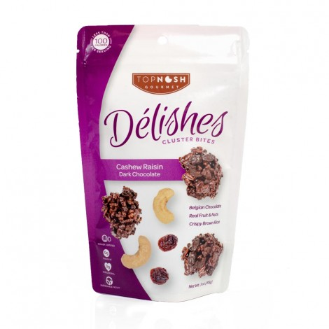 Cashew Raisin Dark Chocolate Clusters - 3oz
