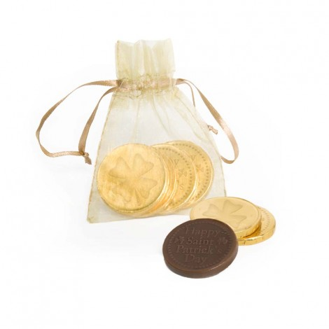 St. Patrick's Day Lucky Coins In Chiffon Pouch (Gold)