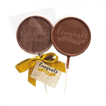 Milk Chocolate Lollipop w/ Hangtag and Gold Ribbon