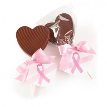 Breast Cancer Awareness - Chocolate Heart Lollipop