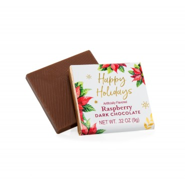 "1.75"" Deluxe Chocolate Thins - Raspberry Dark Chocolate ""Happy Holidays"" (JUNIOR Case)"