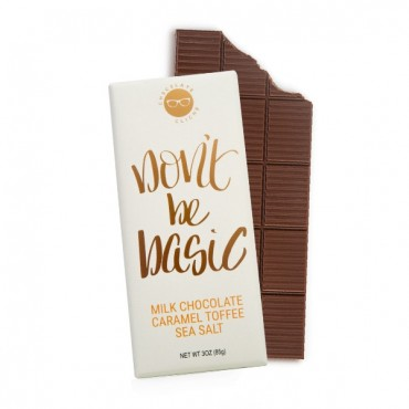 Don't Be Basic Milk Chocolate Caramel Toffee Pretzel Sea Salt Flavored 3oz