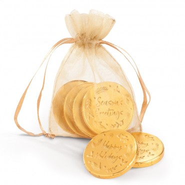 """4pc Chiffon Pouch with 1.5"""" Milk Chocolate Holiday Coins"""