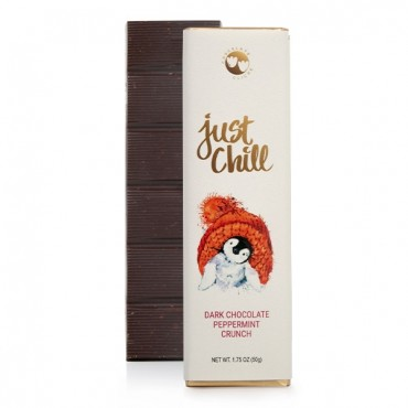 Just Chill Dark Chocolate Peppermint Crunch Flavored 1.75oz. Bar