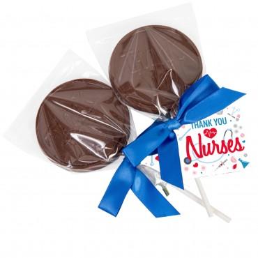 Thank You Nurses Milk Chocolate Lollipop with a Hangtag