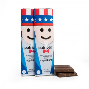 *Upcoming Seasonal* Moodibars - PATRIOTIC Milk Chocolate Popping Candy - 1.75oz