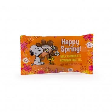 Peanuts Happy Spring Snoopy and Woodstock Milk Chocolate Enrobed Pretzel Twist