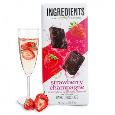 Strawberry Champagne Dark Chocolate Bar (3oz)