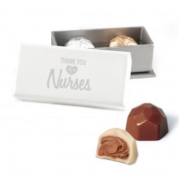 Thank You Nurses 2 pc Deco Truffle Box with Foil Wrapped Hazelnut Truffles
