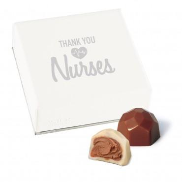 Thank You Nurses 4 pc Deco Truffle Box with Foil Wrapped Hazelnut Truffles