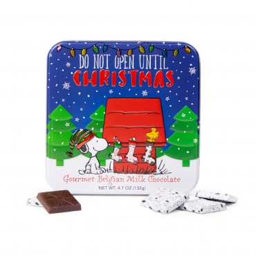 Christmas Peanuts Square Tin w/ 24 Foiled small squares