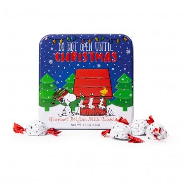 Christmas Peanuts Square Tin w/ 13 Twist Wrapped Truffles